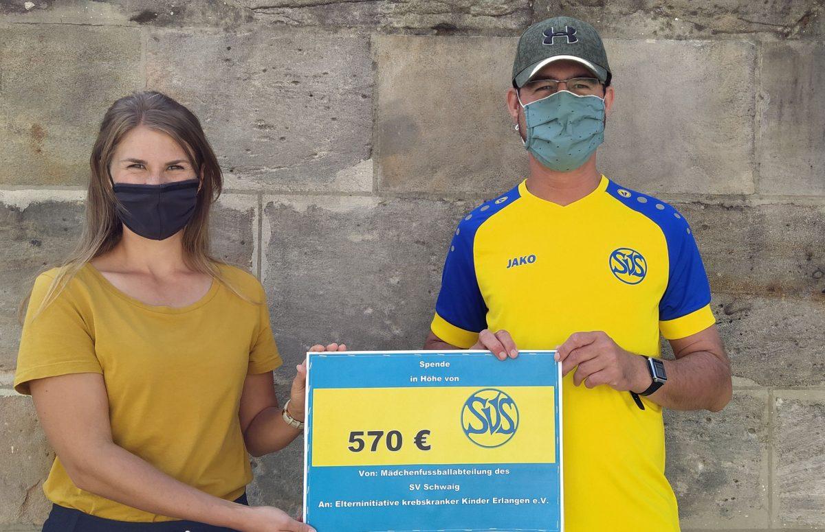 570 Euro von der Mädchenmannschaft SV Schwaig